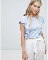 Vero Moda - Ruffle Front T-shirt - Lyst