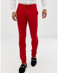 ASOS - Super Skinny Suit Pants In Red - Lyst