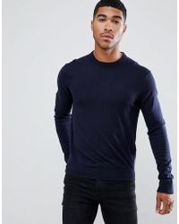 Armani Exchange - Crew Neck Cashmere-mix Chest Logo Jumper In Navy - Lyst