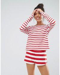 ASOS | 100% Cotton Contrast Stripe Red Long Sleeve Tee & Short Pyjama Set | Lyst