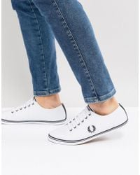 Fred Perry - Kingston Leather Tipped Plimsolls In White - Lyst