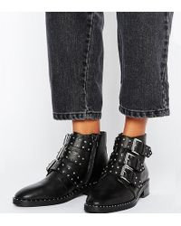 71a62aba35c ASOS Asos Abe Wide Fit Leather Ankle Boots in Black - Lyst