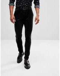 ASOS - Super Skinny Trousers In Black Velvet - Lyst