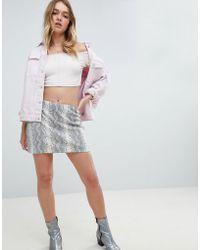 Honey Punch - 90's Mini Skirt In Snake Print - Lyst