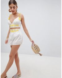 PrettyLittleThing - Embroidered Shorts - Lyst