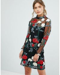 New Look | Floral Embroidered Tunic Dress | Lyst