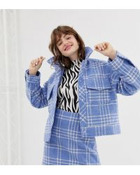 Monki - Short Boucle Trucker Jacket With Check Print In Light Blue - Lyst