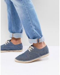 ASOS - Lace Up Espadrilles In Blue Denim Chambray - Lyst
