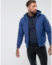 Fred Perry - Brentham Quilted Jacket With Hood In Blue - Lyst