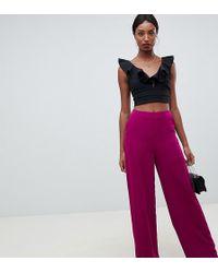 Missguided - Wide Leg Trouser In Purple - Lyst