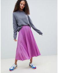 ASOS - Longer Length Pleated Midi Skirt - Lyst
