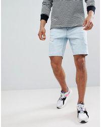 Bershka - Slim Fit Denim Shorts In Light Blue - Lyst