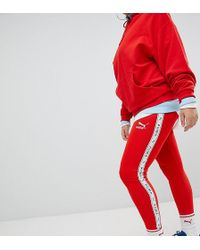 PUMA - Exclusive To Asos Plus Taped Side Stripe Leggings In Red - Lyst