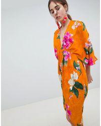 ASOS DESIGN - Kimono Midi Dress In Bold Floral Jacquard - Lyst