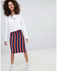 Bershka - Bright Striped Midi Skirt In Multi - Lyst