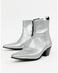 ASOS - Stacked Heel Western Chelsea Boots In Silver Leather - Lyst