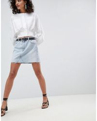 Mango - Organic Cotton Denim Mini Skirt In Washed Blue - Lyst