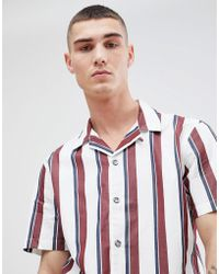 Mango - Man Striped Shirt With Revere Collar In White - Lyst