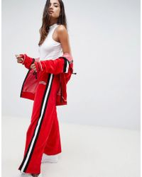 Criminal Damage - Wide Leg Velour Track Trousers With Side Stripe - Lyst