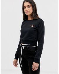 Calvin Klein - Cropped Monogram Embroidered Logo Crew Neck - Lyst