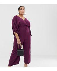 a4e067fe1452 ASOS - Asos Design Curve Kimono Sleeve Jumpsuit With Wrap And Culotte Leg -  Lyst