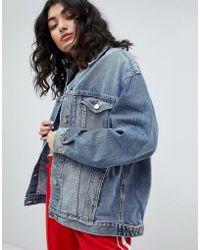 ASOS - Design Denim Girlfriend Jacket In Lightwash Blue - Lyst