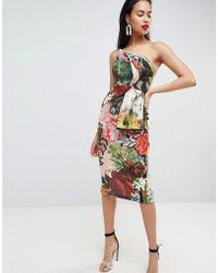 ASOS - Postcard Print Bandeau Fold Bodycon Midi Dress - Lyst