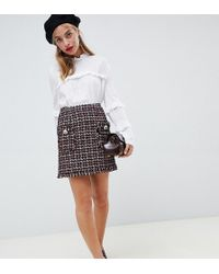 River Island - A-line Mini Skirt With Button Detail In Boucle - Lyst