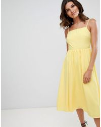 Warehouse - Square Neck Sun Dress In Yellow - Lyst