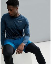 Nike - Dry Medalist Knitted Long Sleeve Top In Blue 891424-474 - Lyst
