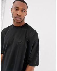 ASOS - Oversized T-shirt In Mesh In Black - Lyst