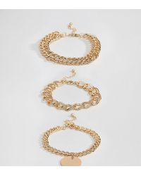 Missguided - Exclusive Chunky Chain Bracelet Multipack In Gold - Lyst