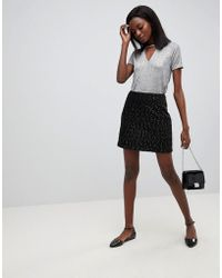 Oasis - Spot Textured Mini Skirt - Lyst