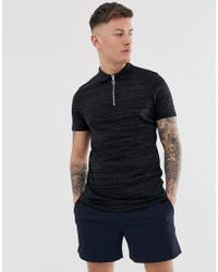 ASOS - Polo Shirt With Zip Neck In Interest Fabric - Lyst