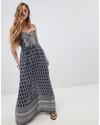 Band Of Gypsies - Tie Front Maxi Dress In Border Print - Lyst