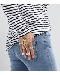 Monki | Encrusted Multi Ring And Chain Bracelet | Lyst