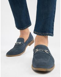 ASOS - Design Loafers In Blue Suede With Snaffle - Lyst