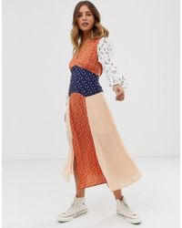 Glamorous Midaxi Dress With Front Splits In Mix And Match Print