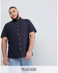 Farah - Plus Brewer Slim Fit Short Sleeve Oxford Shirt In Navy - Lyst