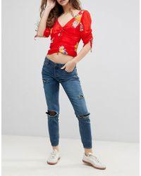 Free People - Fishnet Skinny Jeans - Lyst