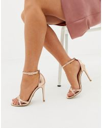 f9b221bc75b5 Lyst - Lipsy Barely There Heels In Gold Snake Print in Metallic