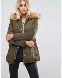 Lipsy - Reversible Parka With Fur Hood - Lyst