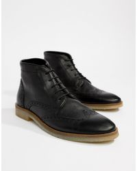 ASOS - Brogue Boots In Black Leather With Natural Sole - Lyst