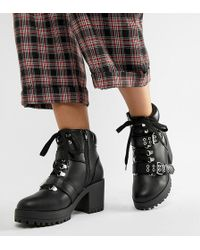 Truffle Collection - Wide Fit Hiker Heeled Ankle Boots - Lyst