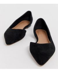 4c295603718 ASOS - Wide Fit Virtue D orsay Pointed Ballet Flats In Black - Lyst