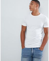 ASOS - Organic Muscle Fit T-shirt With Crew Neck In White - Lyst