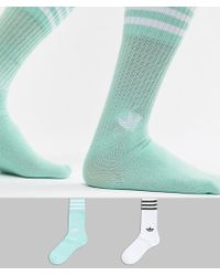 adidas Originals - 2 Pack Crew Socks In Mint Dh3362 - Lyst