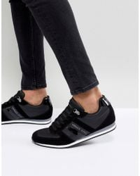 Versace Jeans - Trainers In Black With Stripe Logo - Lyst