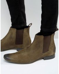 Frank Wright - Chelsea Boots In Taupe Suede - Lyst