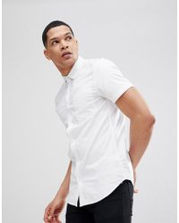 New Look - Muscle Fit Oxford Shirt In White - Lyst